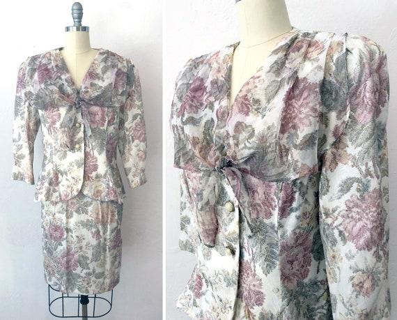 vintage 1980s does 50s pastel floral dress skirt s