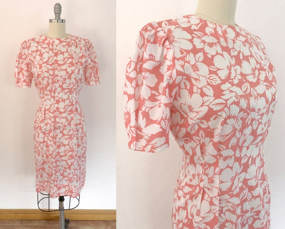 vintage 70s does 50s floral dress | size small | p