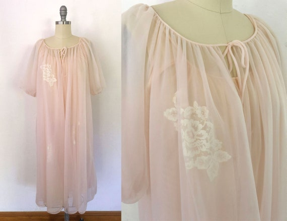vintage 50s sheer lace peignoir robe set   size me
