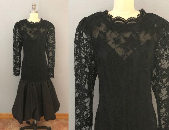 vintage 80s black lace evening dress | large | bla