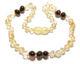 "Genuine Baltic amber teething necklace lemon dark cherry amber beads for baby, baby teething 31 - 33 cm/ 12.2 - 13"", amber baby jewelry"