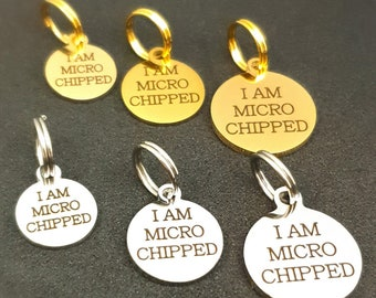 Tiny Microchipped Dog Tag 10 mm 12 mm 15 mm, Microchip Cat Tag, Custom Engraved Stainless Steel Pet Tag