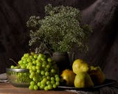 Large Wall Art — Grapes & Pears Still Life, Food Photography, Kitchen Decor, Dining Room Decor, Oversized Art, Old Masters