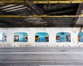 Under the Bridge Photograph, Travel Photography, Toronto Photograph, Wall Art, Blue Gray Tan Yellow, Street Photography