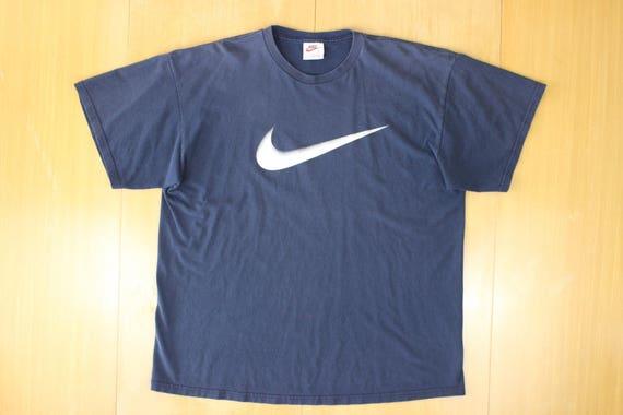 Vintage 80s Nike Swoosh Logo Heather Grey Red T Shirt Blue