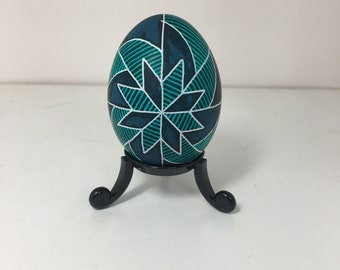 Teal Star Pysanky Chicken Egg