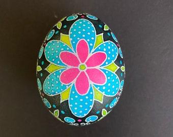 Chicken Egg Pysanky in Blue/Green/Pink/Black