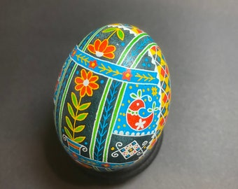 Blue/Red/Green/Yellow Pysanky Chicken Egg