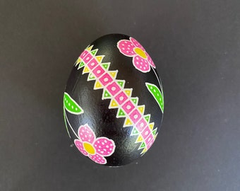 Pink/Green/Yellow Pysanky Chicken Egg