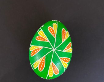 Green/Orange/Yellow Pysanky Chicken Egg