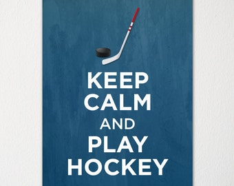 KCV27 Vintage Style Union Jack Keep Calm Play Hockey Funny Poster Print A2//A3//A4