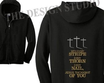 Sudadera con capucha personalizada, ropa cristiana, camiseta de Christian, religiosa sudadera con capucha, inspirador con capucha, Full Zip sudadera, regalo religioso