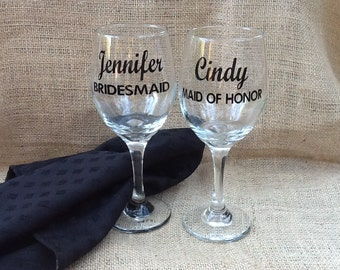 Personalized Decals, Bachelorette Party, Bridesmaid, Entourage, Bride & Groom, Wine Glass Decals, Champagne Flute Decals, DIY Vinyl Stickers