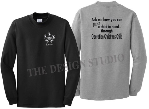 Operation Christmas Child Logo Black And White.Personalized T Shirt Operation Christmas Child T Shirts For A Cause Children In Need Christmas Shirts Occ T Shirts Fundraiser Shirts