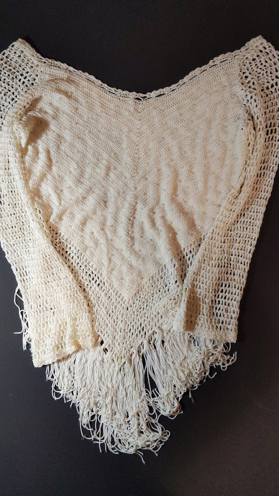 Small White Crotched Blouse with Fringe and Beads,