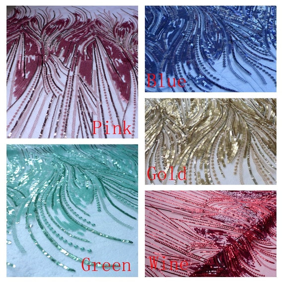 Rose/bleu/vert/or/vin paillettes broderies métalliques tissu étape performances mode 51'' mode performances robe tissu ventes par l'yard fd1e76