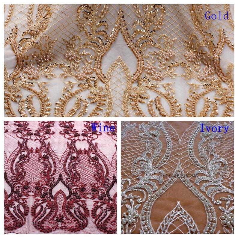 BlackwineivoryGold heavy handmade beaded bridel lace fabric 47/'/' width by yard JS161201