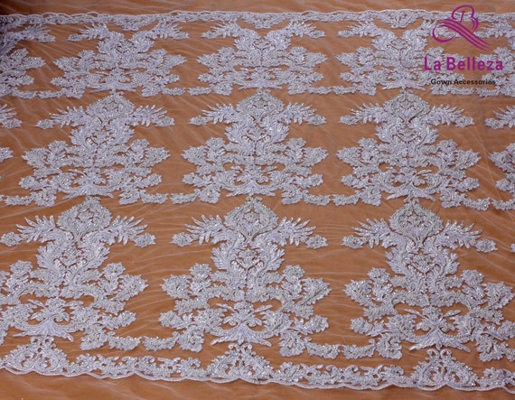 Heavy Beaded and Pearl Lace  Embroidery Fabric Hand Made n Mesh Item # 720