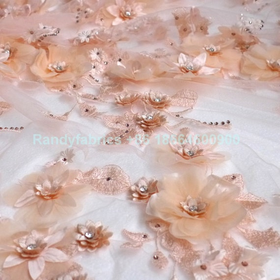 New off white Nudeyellow Hot fashion rhinestone 3D flowers on netting embroidered wedding evinging dress lace fabric