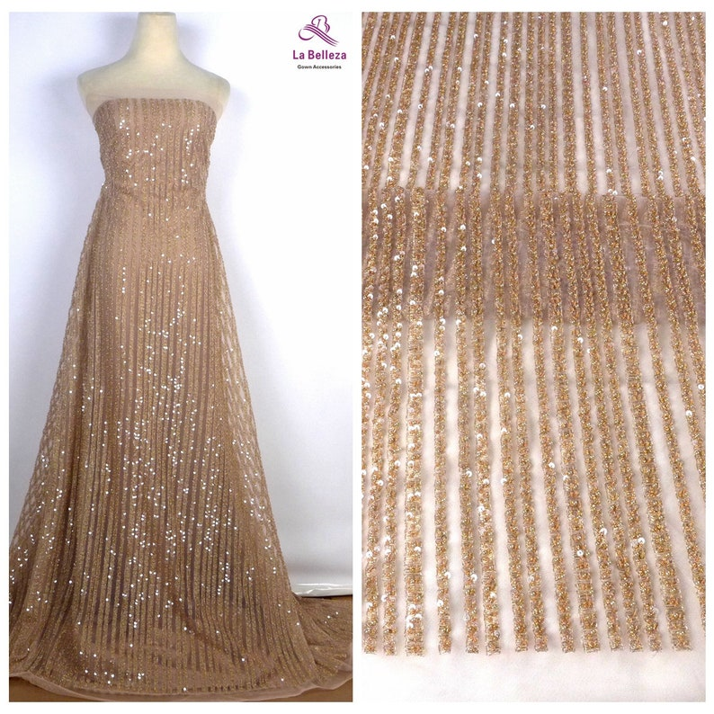 handmade beading lace fabric,bridal dress lace fabric,by yard La Beeleza Beige lace,simple lines lace