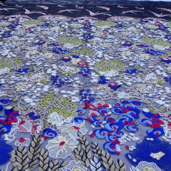Style de la mode mixte couleurs broderie robe dentelle yard tissu 47'' largeur par yard dentelle 033713
