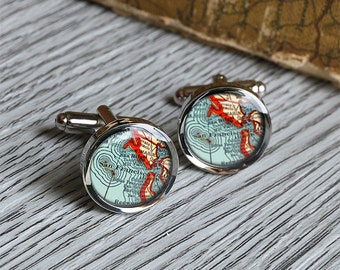 1949 vintage Key West map cufflinks jewelry charm meaningful birthday gift for husband memorial anniversary gift C0716P