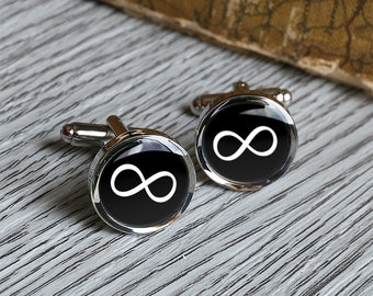 Infinity love cufflink,forever cuff-links,glass man cuff links,resin forever charm jewelry C0518N