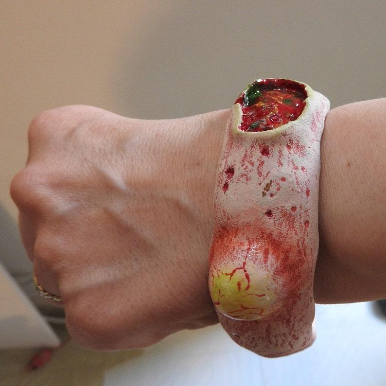 Zombie rotting flesh bracelet bangle hand made Horror Goth image 0