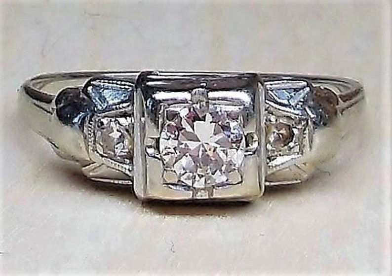 Art Deco Engagement Ring .20ct Diamond Engagement Ring Vintage Engagement  Ring Antique Engagement Unique Engagement Ring 1920 14k White Gold