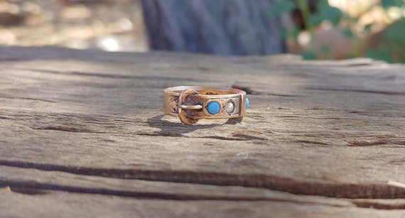 Antique Victorian Turquoise Pearl Buckle Ring 9k R