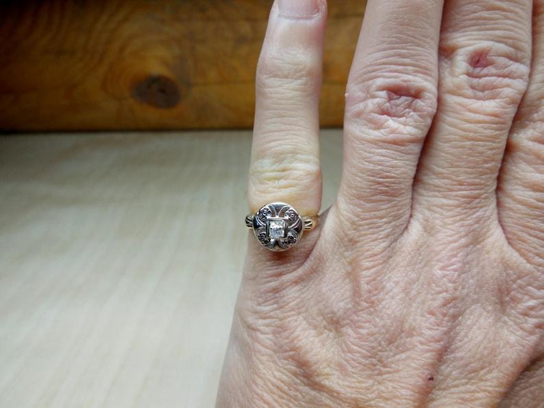 Vintage Engagement Ring .10ct Old European Cut Diamond Engagement Ring Unique Engagement Ring Art Deco Engagement Ring 14k White Yellow Gold