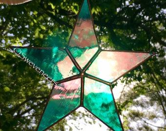 Sweveneers Iridescent Teal Star Stained Glass Sun Catcher