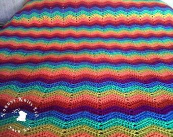 Double bed sized crochet rainbow throw/blanket/bedspread