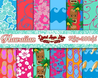 Hawaiian Digital Paper, Seamless Patterns -  12pcs 300dpi (paper crafts, card making, scrapbooking) Personal and Commercial use