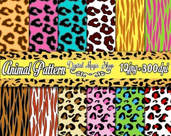 12 Colored Animal Seamless Digital Paper -  Cheetah Leopard Tiger - Digital Scrapbook Paper and Printable Backgrounds - Instant Download