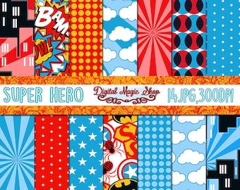 Superhero digital paper, Seamless Patterns- 14pcs 300dpi (paper crafts, card making, scrapbooking)