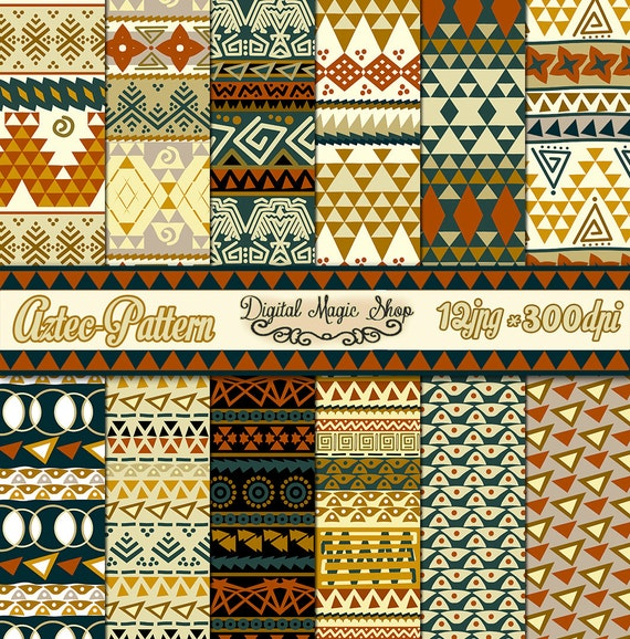 Tribal Aztec Pattern Digital Paper Seamless pattern 40pcs Etsy Amazing Aztec Pattern