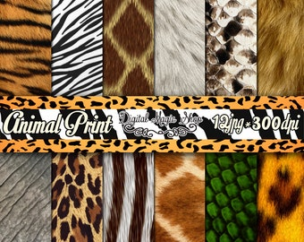Natural Animal Wool and Skin Digital Paper -12 pcs 300 dpi - Lion Elephant Guana Snake Zebra Leopard Tiger Giraffe - Digital Scrapbook Paper