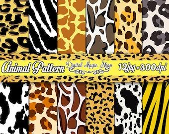 12 Animal Seamless Digital Paper - Zebra Leopard Tiger Giraffe Сow - Digital Scrapbook Paper and Printable Backgrounds - Instant Download