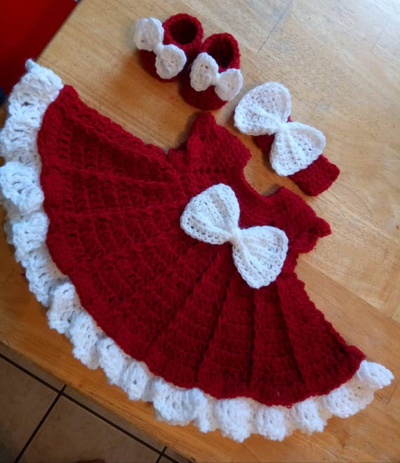 d53897288 Cherry red crochet baby dress set with headband and booties