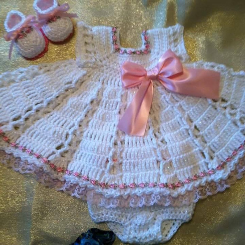 Gorgeous Crochet summer dress set with pink roses