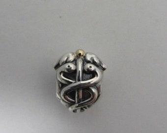1e42e8185 Authentic Pandora Sterling Silver & 14kt Life Saver Charm #791042 Pre Loved  Condition