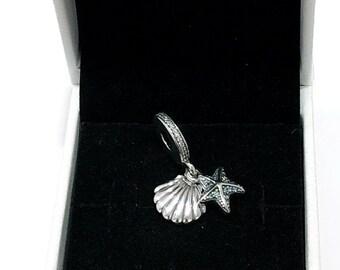 b1abbe9f2 Authentic Pandora Sterling Silver Tropical Starfish & Sea Shell Charm  #792076CZF
