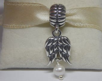 28ddba0d0 Authentic Pandora Guardian Angel Wings w Pearl 790975P Charm Pre Loved  Condition