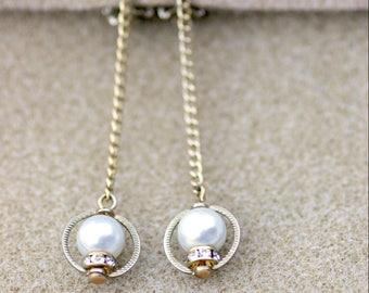 Faux Pearl and Crystal Dangle Earrings Vintage