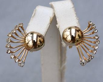 Rhinestone Fan Gold Tone Dome Earrings Vintage