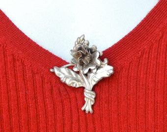 Lang Sterling Silver Flower Repousse Brooch Vintage