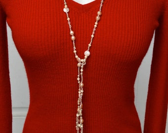 Avon NOS Lariat Necklace and Earrings Set Faux Pearls and Beads Vintage
