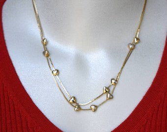 Heart Jewelry, Bracelet, Anklet and 2 Necklaces Gold Tone Vintage