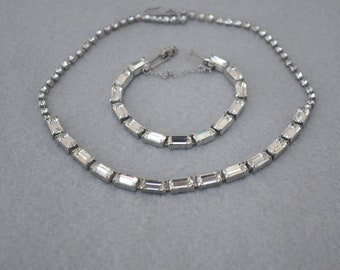 Prong Set Baguette Rhinestones Choker Necklace and Bracelet Vintage
